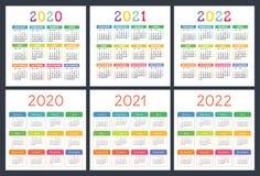 Kalender 2020, 2021, 2022 ?r Stor samling för fackkalender F?rgrik upps?ttning Veckastarter p? s?ndag Grundl?ggande raster vektor illustrationer