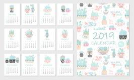 Kalender 2019 Reeks van leuke hand 12 illustraties met succulents royalty-vrije illustratie