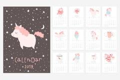 Kalender 2019 Rolig och gullig kalender med hand drog enhörningar royaltyfri illustrationer