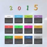Kalender-Schablone für Jahr 2015 Lizenzfreie Stockbilder