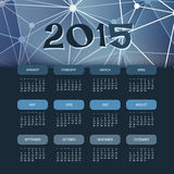 Kalender-Schablone 2015 mit blauem abstraktem Hintergrund Lizenzfreie Stockbilder