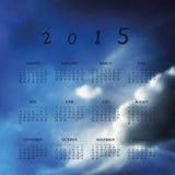Kalender 2015 - Schablonen-Illustration mit unscharfem Hintergrund Lizenzfreie Stockbilder
