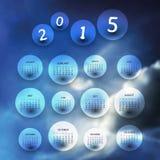Kalender 2015 - Schablonen-Illustration mit unscharfem Hintergrund Stockfotos