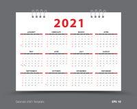 Kalender2021 Schablonenplan, 12 Monate jährliche Kalender im Jahre 2021 eingestellt, roter Hintergrund, Geschäftsbroschürenfli vektor abbildung