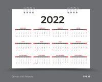 Kalender2022 Schablonenplan, 12 Monate jährliche Kalender im Jahre 2022 eingestellt, roter Hintergrund, Geschäftsbroschürenfli lizenzfreie abbildung