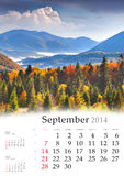 Kalender 2014. September. Lizenzfreies Stockfoto
