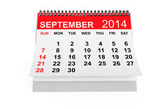 Kalender September 2014 Royalty-vrije Stock Foto