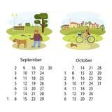 Kalender September 2018 Oktober Stockbild