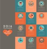 kalender som 2016 illustreras med gulliga små monster Fotografering för Bildbyråer