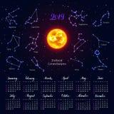 Kalender, Sonne, Sternzeichen, 2019, Hintergrund des nächtlichen Himmels, beschriftend stock abbildung