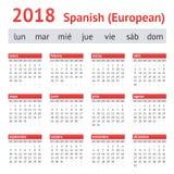Kalender Spanien 2018 Europeisk spansk kalender Royaltyfri Bild