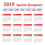 Kalender Spanien 2019 Europeisk spansk kalender vektor illustrationer