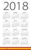 Kalender 2018 - spansk version stock illustrationer