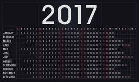 kalender 2017, stadsplanerare, schema för företag och privat bruk royaltyfri illustrationer