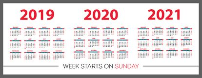 Kalender stellte 2019, 2020, 2021 Jahre ein Rote Farbe, Tasche Wochenanfänge am Sonntag stock abbildung