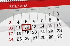 Kalender, Tag, Monat, Geschäft, Konzept, Tagebuch, Frist, Planer, Zustandsfeiertag, Tabelle, Farbillustration, 2018, am 12. Juni Stockfoto