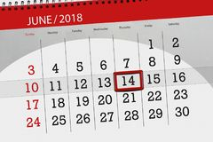 Kalender, Tag, Monat, Geschäft, Konzept, Tagebuch, Frist, Planer, Zustandsfeiertag, Tabelle, Farbillustration, 2018, am 14. Juni Lizenzfreie Stockbilder