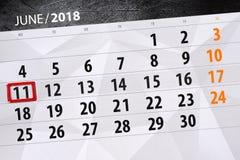 Kalender, Tag, Monat, Geschäft, Konzept, Tagebuch, Frist, Planer, Zustandsfeiertag, Tabelle, Farbillustration, 2018, am 11. Juni Lizenzfreie Stockfotos