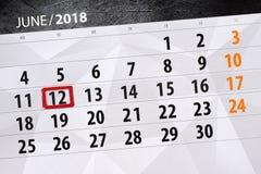 Kalender, Tag, Monat, Geschäft, Konzept, Tagebuch, Frist, Planer, Zustandsfeiertag, Tabelle, Farbillustration, 2018, am 12. Juni Stockbild