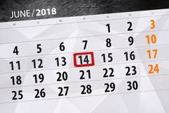 Kalender, Tag, Monat, Geschäft, Konzept, Tagebuch, Frist, Planer, Zustandsfeiertag, Tabelle, Farbillustration, 2018, am 14. Juni Stockfotografie
