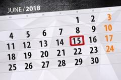 Kalender, Tag, Monat, Geschäft, Konzept, Tagebuch, Frist, Planer, Zustandsfeiertag, Tabelle, Farbillustration, 2018, am 15. Juni Stockbild