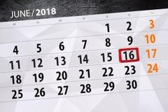 Kalender, Tag, Monat, Geschäft, Konzept, Tagebuch, Frist, Planer, Zustandsfeiertag, Tabelle, Farbillustration, 2018, am 16. Juni Stockfotos