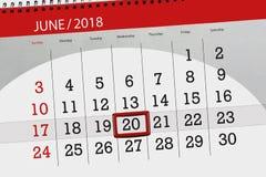 Kalender, Tag, Monat, Geschäft, Konzept, Tagebuch, Frist, Planer, Zustandsfeiertag, Tabelle, Farbillustration, 2018, am 20. Juni Stockfoto