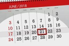 Kalender, Tag, Monat, Geschäft, Konzept, Tagebuch, Frist, Planer, Zustandsfeiertag, Tabelle, Farbillustration, 2018, am 21. Juni Lizenzfreie Stockfotos