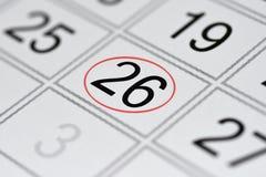 Kalender, tekendag van de week, datum in de rode cirkel, nota, planner, memorandum, sparen datum, 26 stock illustratie