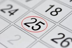 Kalender, tekendag van de week, datum in de rode cirkel, nota, planner, memorandum, sparen datum, 25 royalty-vrije illustratie