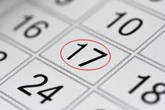 Kalender, tekendag van de week, datum in de rode cirkel, nota, planner, memorandum, sparen datum, 17 royalty-vrije stock foto's