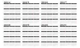 Kalender 2014 till 2021 vektor illustrationer