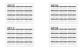 Kalender 2015 till 2018 Arkivbilder