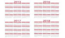 Kalender 2015 till 2018 Fotografering för Bildbyråer