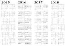 Kalender 2015 till 2018 vektor illustrationer