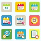 Kalender- und Ereignisikonen Lizenzfreies Stockbild