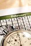 Kalender und Stoppuhr Stockbild