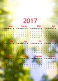 Kalender 2017 Unscharfer natürlicher Hintergrund Stockfotos