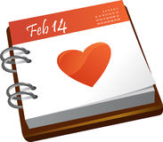 Kalender - valentindag Royaltyfri Foto