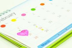 Kalender, Valentinstag Lizenzfreies Stockfoto