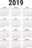 Kalender van 2019 Royalty-vrije Stock Afbeeldingen