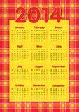 Kalender 2014 van de geruit Schots wollen stof de Schotse stijl Stock Fotografie