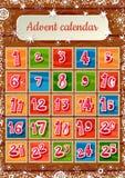 Kalender van de Kerstmis de Kinderachtige komst op houten Stock Afbeeldingen