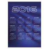 kalender van de van bedrijfs 2016 de eenvoudige blauwe golvenmuur Royalty-vrije Stock Afbeeldingen