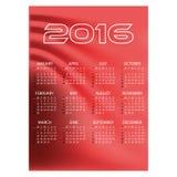 kalender van de van bedrijfs 2016 de eenvoudige rode golvenmuur eps10 Stock Afbeelding