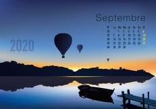 kalender van 2020 klaar om in Franse versie te drukken, die sunsets op landschappen tonen overflighted door ballons stock illustratie