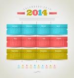 Kalender van 2014 met vakantiepictogrammen Royalty-vrije Stock Foto