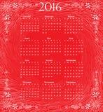 Kalender van 2016: volledig jaar op rode artistieke achtergrond Stock Afbeeldingen