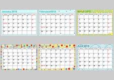 Kalender vastgesteld Januari aan Juni voor de V.S. Stock Afbeeldingen