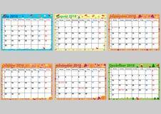 Kalender vastgesteld Juli aan December voor de V.S. Stock Foto